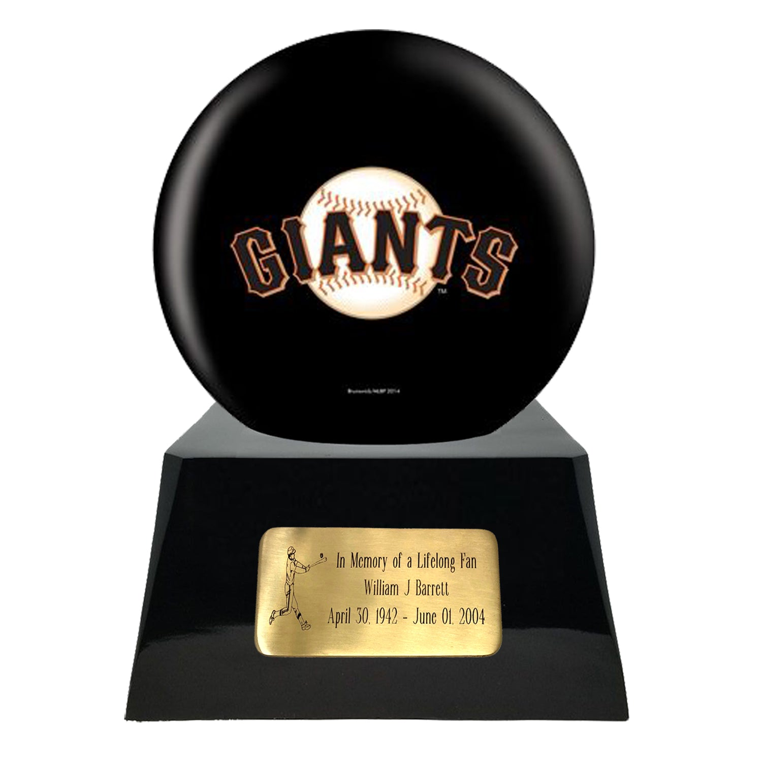 Baseball Cremation Urns For Human Ashes - Baseball Team Cremation Urn and San Francisco Giants Ball Decor with custom metal plaque - Memorials4u