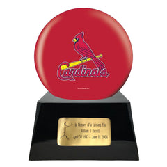Baseball Cremation Urns For Human Ashes - Baseball Team Cremation Urn and St Louis Cardinals Ball Decor with custom metal plaque - Memorials4u