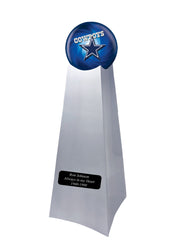 Championship Trophy Cremation Urn with Optional Football and Dallas Cowboys Ball Decor and Custom Metal Plaque