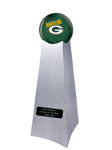 Championship Trophy Cremation Urn with Optional Green Bay Packers Ball Decor and Custom Metal Plaque