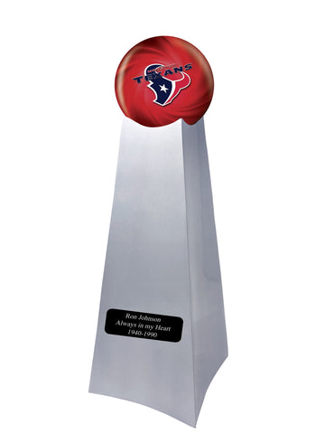 Championship Trophy Cremation Urn with Optional Houston Texans Ball Decor and Custom Metal Plaque
