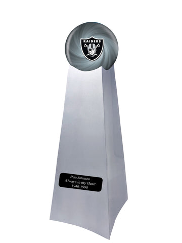 Championship Trophy Cremation Urn with Optional Football and Oakland Raiders Ball Decor and Custom Metal Plaque