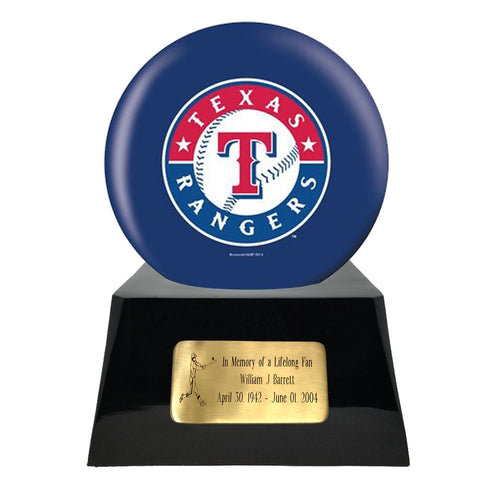 Baseball Cremation Urn with Optional Texas Rangers Ball Decor and Custom Metal Plaque