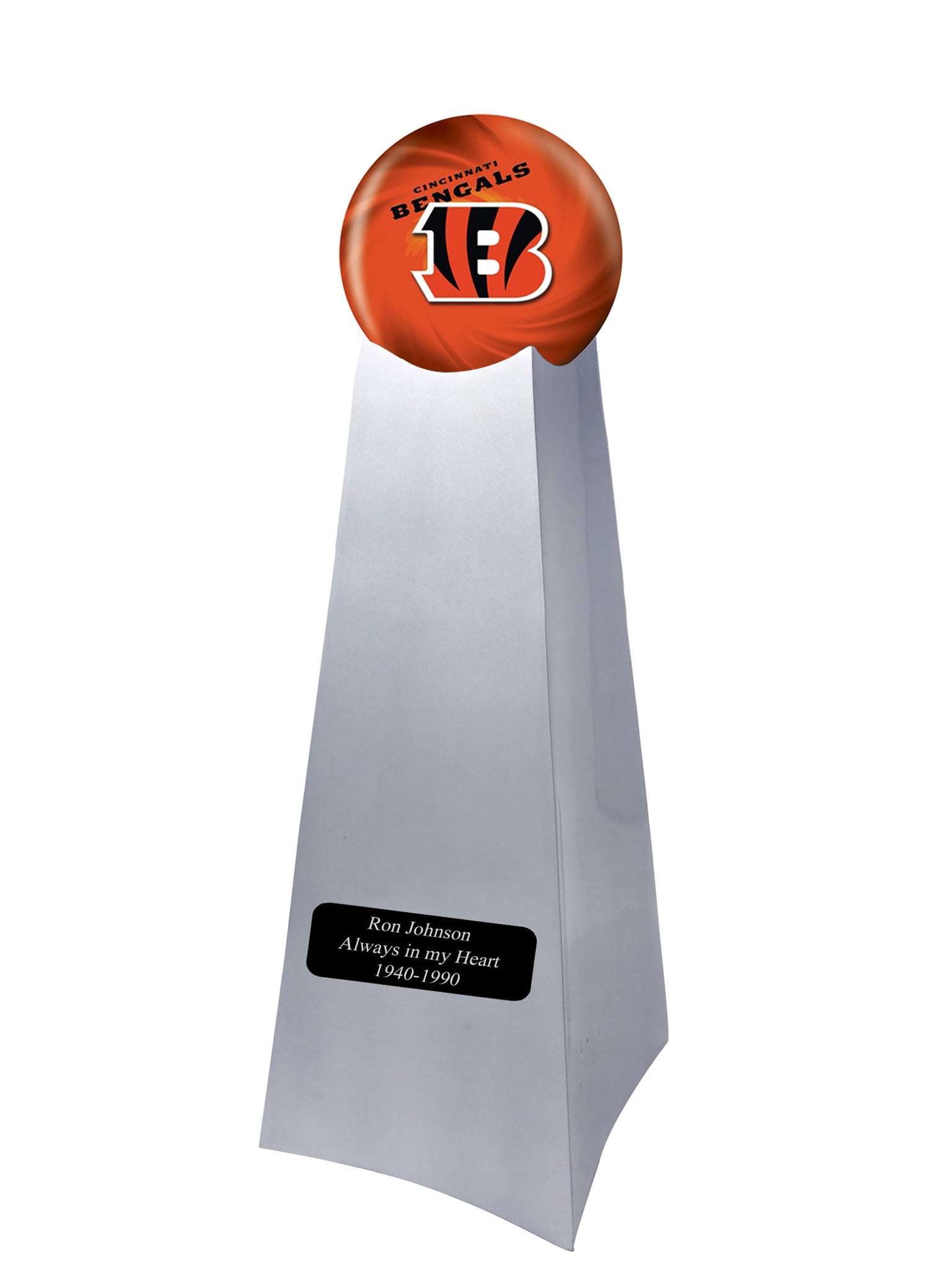 Championship Trophy Cremation Urn with Optional Football and Cincinnati Bangals Ball Decor and Custom Metal Plaque