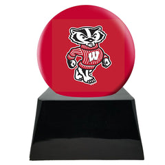 Football Cremation Urns For Human Ashes - Football Team Cremation Urn and Wisconsin Badgers Ball Decor with Custom Metal Plaque - Memorials4u