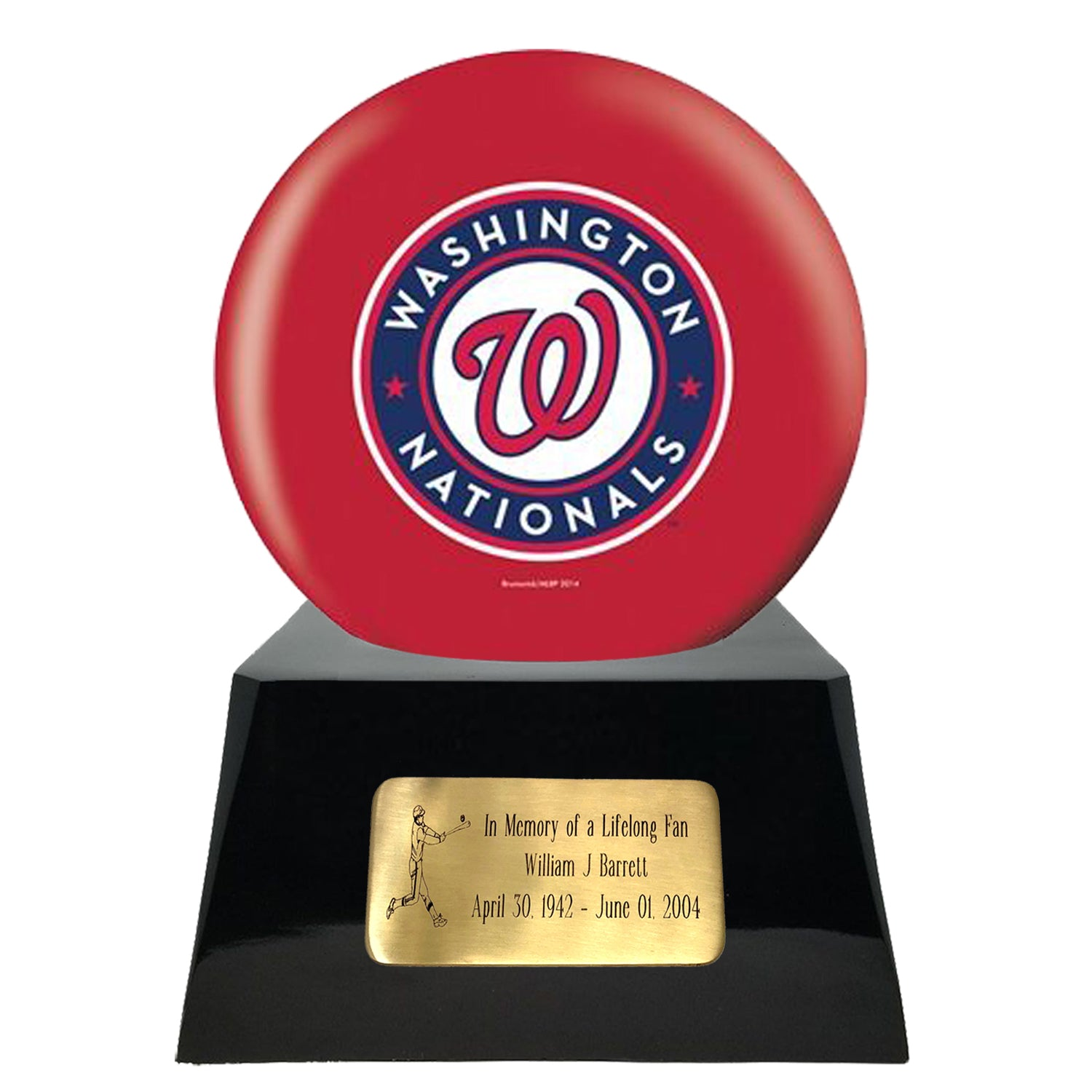 Baseball Cremation Urns For Human Ashes - Baseball Team Cremation Urn and Washington Nationals Ball Decor with custom metal plaque - Memorials4u