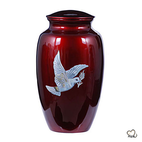 Mother of Pearl Dove Hand Painted Cremation Urn