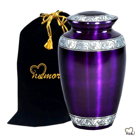 Mulberry Alloy Cremation Urn - purple