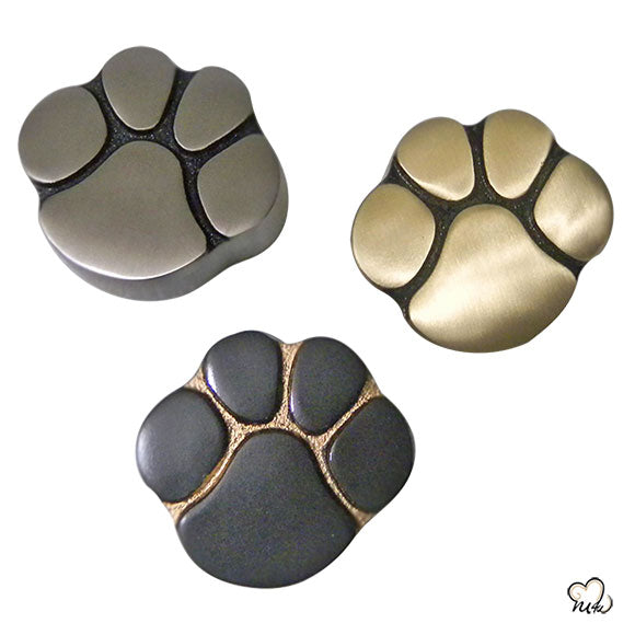 Pet Keepsake Urn - Paw Print Pet Urn - Custom Urn for Pet Ashes in Slate, Gold, Pewter -  Memorials4u