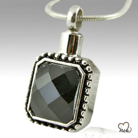 Square Gem Stainless Steel Cremation Keepsake Pendant