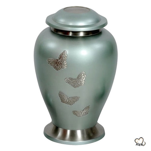 Teal Butterfly Cremation Urn for Adult Ashes