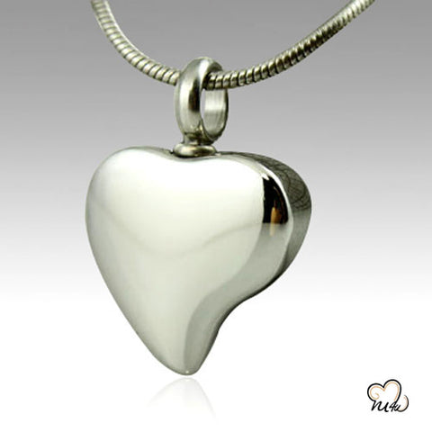 Tear Drop Heart Stainless Steel Cremation Keepsake Pendant