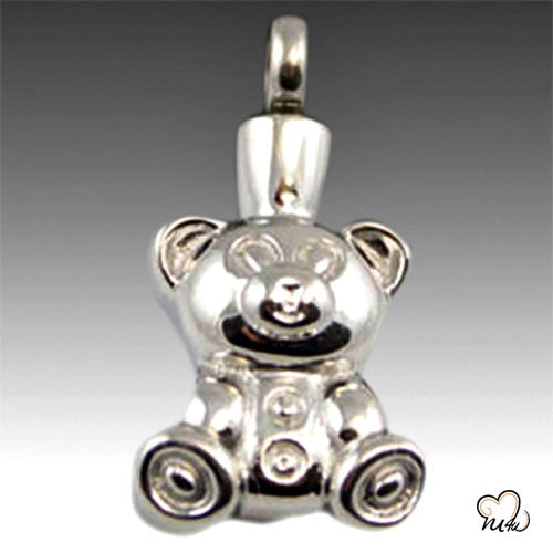 Teddy Bear Premium Stainless Steel Cremation Keepsake Pendant, Cremation Pendant - Memorials4u