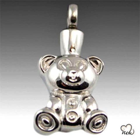 Teddy Bear Premium Stainless Steel Cremation Keepsake Pendant