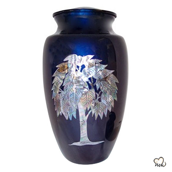 Eternal Tree Mother of Pearl Cremation Urn, Hand Painted Cremation Urn - Memorials4u