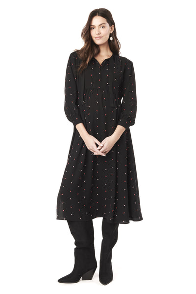 ALI IN TIC TAC - TIE LONG SLEEVE NURSING & MATERNITY DRESS