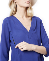 ALICE- Blue V-neck long sleeve nursing and maternity blouse Loyal Hana