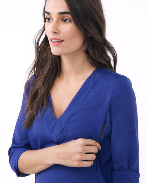 ALICE IN BLUE - LONG SLEEVE V NECK NURSING AND MATERNITY BLOUSE