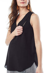 AMANDA- Black V-neck sleeveless nursing and maternity top Loyal Hana