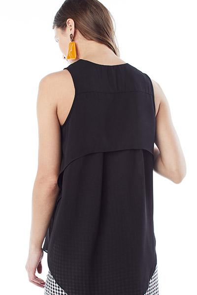 AMANDA- Black V-neck sleeveless nursing and maternity top