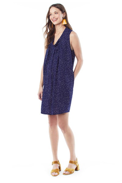 ANYA in Navy Diagonal Dot- Sleeveless Nursing and Maternity Dress