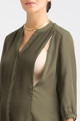 Audrey- Army Green Tuxedo Top tuxedo blouse Loyal Hana