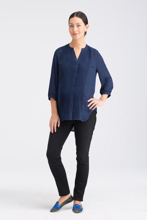 This nursing and maternity Tuxedo Blouse is a more structured silhouette that still drapes softly. With Hidden side seams conceal zippered openings for easy nursing this items is Created with versatile polyester.  We suggest to wash cold and hang dry to retain strength. 100% polyester.