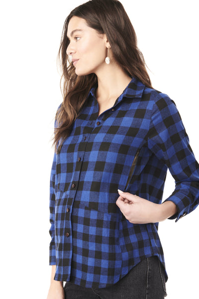 BLAKE IN BLUE CHECK - OVERSIZED NURSING & MATERNITY FLANNEL