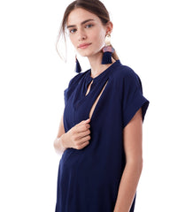 CARRIE- Navy cap sleeve nursing and maternity top short sleeve blouse Loyal Hana