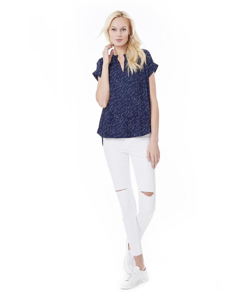CARRIE - NAVY DIAGONAL DOT NURSING AND MATERNITY BLOUSE