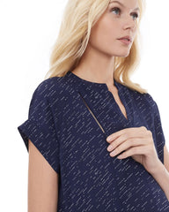 CARRIE - NAVY DIAGONAL DOT NURSING AND MATERNITY BLOUSE short sleeve blouse Loyal Hana