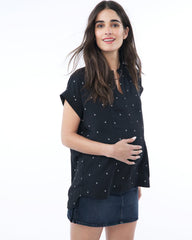 CARRIE - Nursing and Maternity Blouse - Black Birds short sleeve blouse Loyal Hana