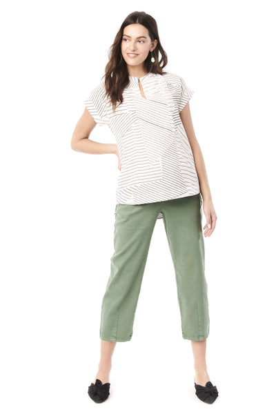 CARRIE - WHITE WITH BLACK LINES NURSING AND MATERNITY BLOUSE