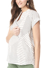 CARRIE - WHITE WITH BLACK LINES NURSING AND MATERNITY BLOUSE short sleeve blouse Loyal Hana