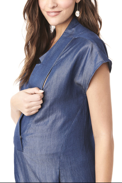 CELIA - BLUE DENIM NURSING AND MATERNITY JUMPSUIT