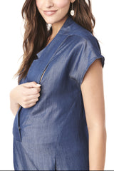 CELIA - BLUE DENIM NURSING AND MATERNITY JUMPSUIT jumpsuit Loyal Hana