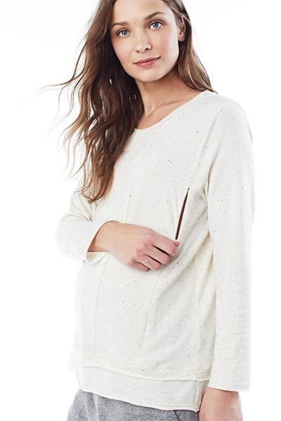 CHRISTY IN CREAM SPECKLE - NURSING AND MATERNITY LONG SLEEVE TOP