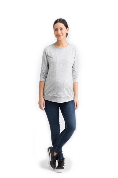 CHRISTY IN GREY SPECKLE - NURSING AND MATERNITY LONG SLEEVE TOP