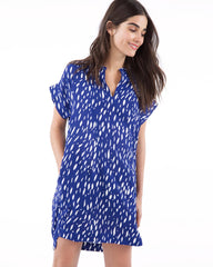 CYBELLE - Blue Raindrop cap sleeve nursing and maternity dress short sleeve dress Loyal Hana