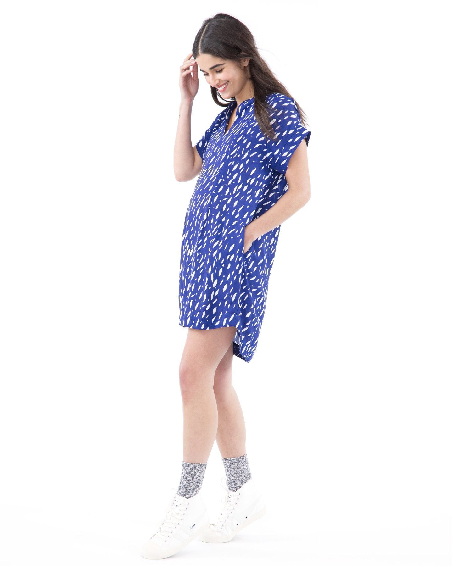 51ec78a30ee12 ... CYBELLE - Blue Raindrop cap sleeve nursing and maternity dress short  sleeve dress Loyal Hana