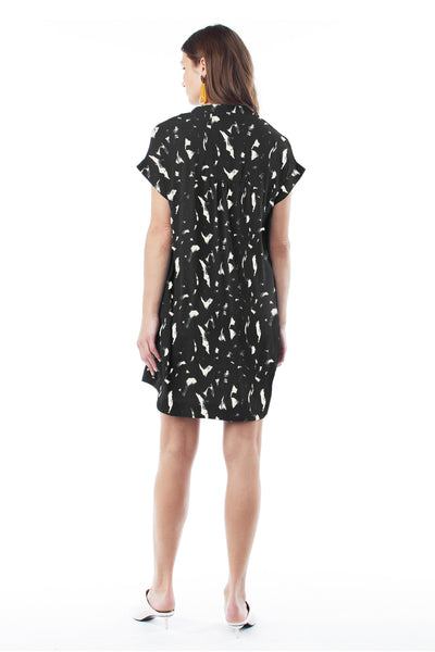 CYBELLE IN BLACK PAINT STROKES - NURSING & MATERNITY DRESS