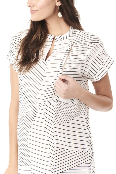 CYBELLE- WHITE WITH BLACK LINES NURSING & MATERNITY DRESS