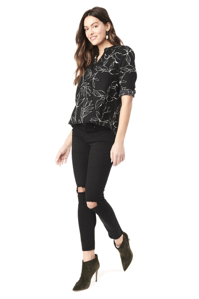 EVELYN IN ABSTRACT FLOWER - NURSING AND MATERNITY WRAP TOP