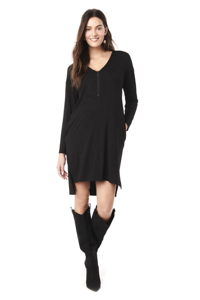 FARAH IN BLACK -  LONG SLEEVE NURSING AND MATERNITY MID DRESS