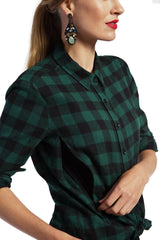 Frankie - Green Black Check Top long sleeve button down top Loyal Hana