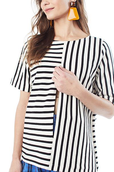 GINGER - BLACK AND CREAM STRIPE TOP