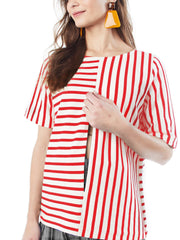 GINGER - RED AND CREAM STRIPE TOP LoyalHana