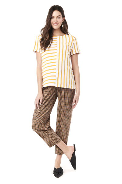 GINGER - WHITE YELLOW STRIPE NURSING AND MATERNITY TOP