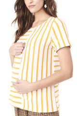 GINGER - WHITE YELLOW STRIPE NURSING AND MATERNITY TOP long sleeve top Loyal Hana