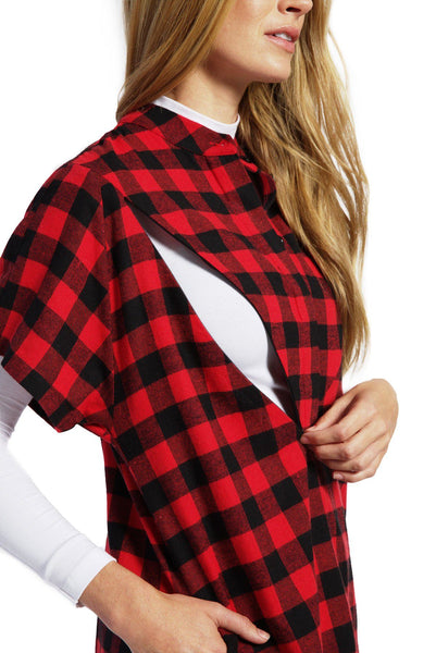 Isla - Red Check Short Sleeve Nursing Top